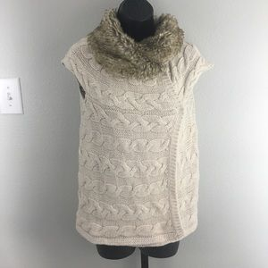 Zara Fur Collar Sweater Vest
